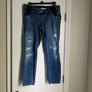 Distressed Side Panel Maternity Jeans